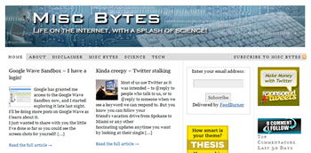 Misc Bytes.com - Life on the Internet, with a Splash of Science.